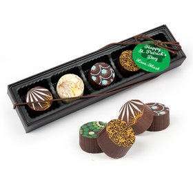 Personalized St. Patrick's Day Clover Gourmet Belgian Chocolate Truffle Gift Box (5 Truffles)