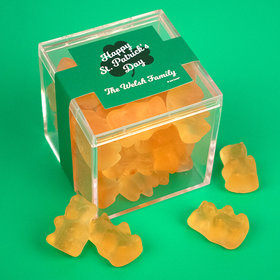 Personalized St. Patrick's Day JUST CANDY® favor cube with Gummy Bears