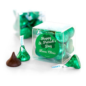 Personalized St. Patrick's Day Clovers Hershey's Kisses Clear Gift Box