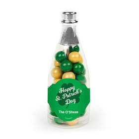 Personalized St. Patrick's Day Clover Champagne Bottle with Sixlets Candies