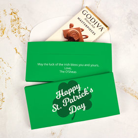 Deluxe Personalized St. Patrick's Day Clover Godiva Chocolate Bar in Gift Box