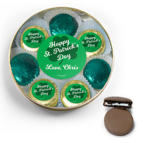 Personalized St. Patrick's Day Belgian Chocolate Covered Oreo Cookies Large Gold Plastic Tin