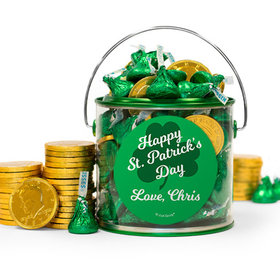 Personalized St. Patrick's Day Clovers Hershey's Kisses & Gold Coins Filled Green Paint Can