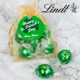 Personalized St. Patrick's Day Clover Lindor Truffles by Lindt in Organza Bags with Gift Tag