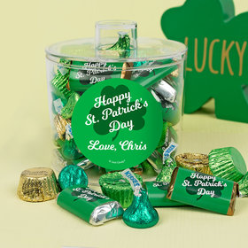 Personalized St. Patrick's Day Clover Container with Hershey's Mix