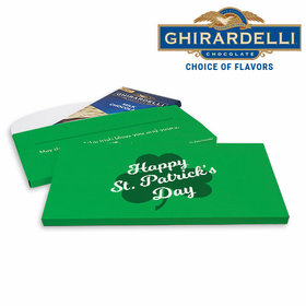 Deluxe Personalized Clover St. Patrick's Day Ghirardelli Peppermint Bark Bar in Gift Box (3.5oz)