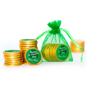 Personalized St. Patrick's Day Clovers Extra Small Organza Bag of Gold Chocolate Coins