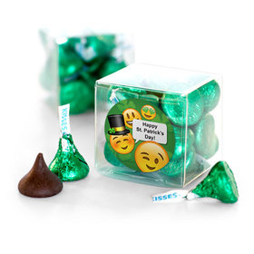 Personalized St. Patrick's Day Emoji Hershey's Kisses Clear Gift Box