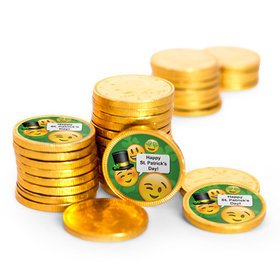 St. Patrick's Day Emoji Chocolate Coins with Stickers (84 Pack)
