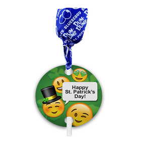 Personalized St. Patricks Day Emoji Dum Dums with Gift Tag (75 pops)