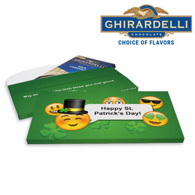 Deluxe Personalized Emoji St. Patrick's Day Ghirardelli Peppermint Bark Bar in Gift Box (3.5oz)