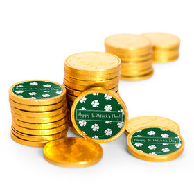 St. Patrick's Day Shamrocks Chocolate Coins with Stickers (84 Pack)