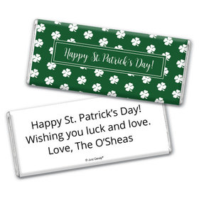 Personalized St. Patrick's Day Shamrocks Chocolate Bar & Wrapper
