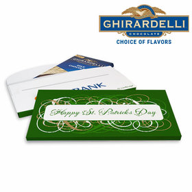 Deluxe Personalized Swirls St. Patrick's Day Ghirardelli Peppermint Bark Bar in Gift Box (3.5oz)