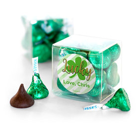 Personalized St. Patrick's Day Stripes Hershey's Kisses Clear Gift Box