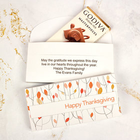 Deluxe Personalized Thanksgiving Fall Woods Godiva Chocolate Bar in Gift Box