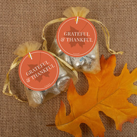 Thanksgiving Grateful Hershey's Kisses in Organza Bags with Gift Tag