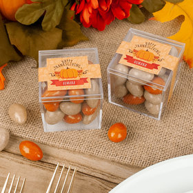 Personalized Thanksgiving Pumpkin Patch JUST CANDY® favor cube with Pumpkin Pie Candy Coated Almonds