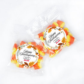 Personalized Personalized Thanksgiving Festive Leaves 1oz Candy Bags with Candy Corn