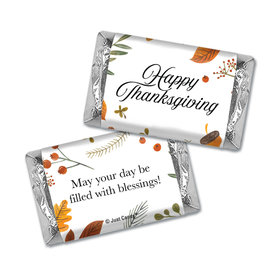 Personalized Thanksgiving Festive Leaves Hershey's Miniatures Wrappers