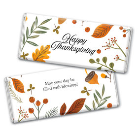 Personalized Thanksgiving Festive Leaves Chocolate Bar & Wrapper