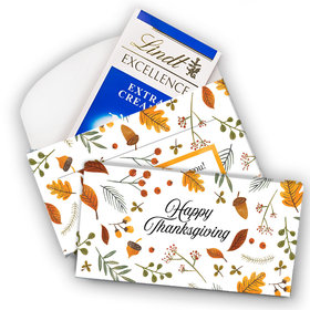 Deluxe Personalized Thanksgiving Autumn Leaves Lindt Chocolate Bar in Gift Box (3.5oz)