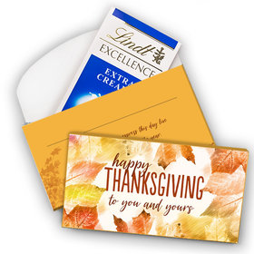 Deluxe Personalized Thanksgiving Falling Into Autumn Lindt Chocolate Bar in Gift Box (3.5oz)