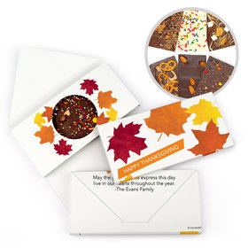 Personalized Paper Leaves Thanksgiving Gourmet Infused Belgian Chocolate Bars (3.5oz)