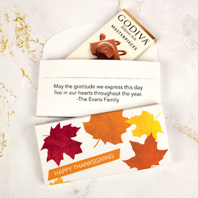 Deluxe Personalized Thanksgiving Fall Leaves Godiva Chocolate Bar in Gift Box