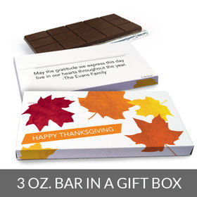 Deluxe Personalized Fall leaves Thanksgiving Chocolate Bar in Gift Box (3oz Bar)