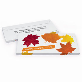 Deluxe Personalized Fall leaves Thanksgiving Chocolate Bar in Gift Box