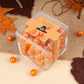 Personalized Thanksgiving JUST CANDY® favor cube with Sixlets Chocolate