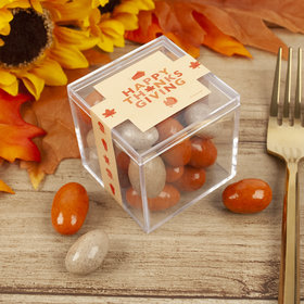 Thanksgiving Pumpkin Patch JUST CANDY® favor cube with Pumpkin Pie Candy Coated Almonds