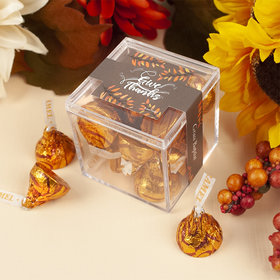 Personalized Thanksgiving JUST CANDY® favor cube with Caramel Hershey's Kisses