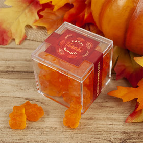 Personalized Thanksgiving JUST CANDY® favor cube with Gummy Bears