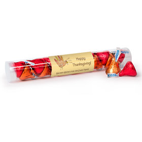 Personalized Thanksgiving Turkey Handprint Gumball Tube with Hershey's Kisses