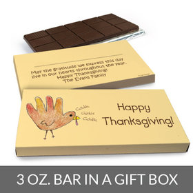 Deluxe Personalized Handprint Turkey Thanksgiving Chocolate Bar in Gift Box (3oz Bar)