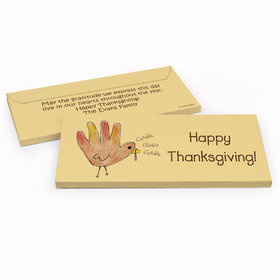 Deluxe Personalized Handprint Turkey Thanksgiving Chocolate Bar in Gift Box