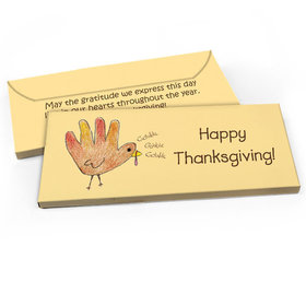 Deluxe Personalized Handprint Turkey Thanksgiving Candy Bar Favor Box