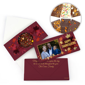 Personalized Falling Leaves with Photo Thanksgiving Gourmet Infused Belgian Chocolate Bars (3.5oz)