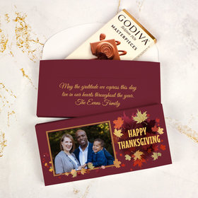 Deluxe Personalized Thanksgiving Falling Leaves Photo Godiva Chocolate Bar in Gift Box