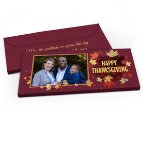 Deluxe Personalized Leaves with Photo Thanksgiving Candy Bar Favor Box