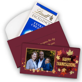 Deluxe Personalized Leaves with Photo Thanksgiving Lindt Chocolate Bar in Gift Box (3.5oz)