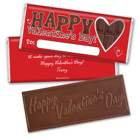 Embossed Chocolate Valentine Candy Bar Personalized Chocolate Bar Assembled