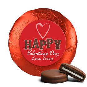 Valentine's Day Happy Heart Chocolate Covered Red Foil Oreos