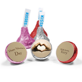 Valentine's Day Personalized Love Mix Hershey's Kisses Hands of Love Assembled Kisses (50 Pack)