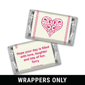 Valentine's Day Personalized HERSHEY'S MINIATURES Wrappers Hearts and Swirls