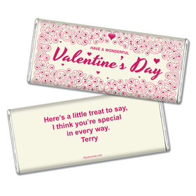 Valentine's Day Personalized Chocolate Bar Hearts and Swirls