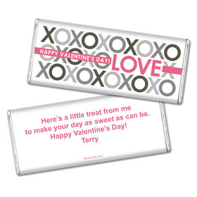 Valentine's Day Personalized Chocolate Bar XOXO Pattern