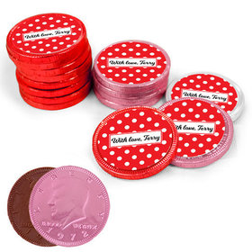 Valentine's Day Dots Milk Chocolate Red, Pink and White Coins with Stickers (72 Pack)